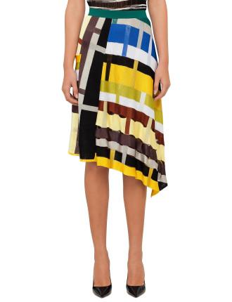 Asymmetric Colour Skirt