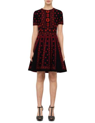 Flower Pattern Knit Dress
