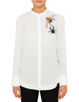 Insect Embroidered Silk Shirt