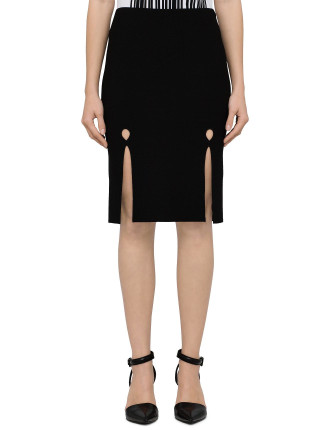 Pencil Skirt With Front Keyhole Slits