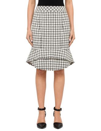 Seamed Pencil Skirt With Peplum Hem