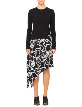 Asym Dress W Knit-Printed Georgette
