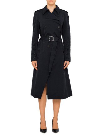 FULTON TRENCH COAT WITH BANDANA PRINT TRIM