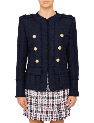 Navy Tweed Jacket with Gold Buttons