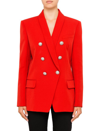 100% Wool Oversized Six Button Jacket in Red
