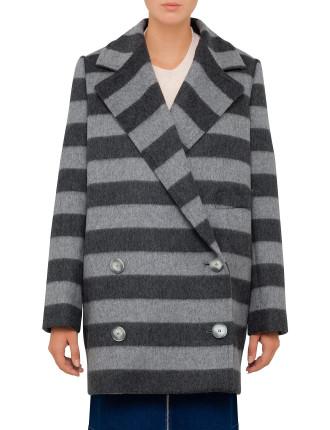 Brushed Stripe Edith Coat