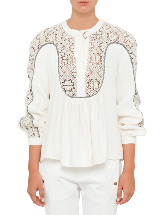 Linen Silk Mix Top With Lace