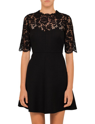 Lace And Crepe Couture Mix Dress