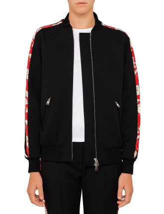 Bomber Jacket With Floral Trim