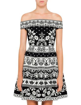 Off Shoulder Floral Knit Dress