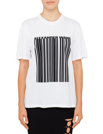Boxy Crew Neck T-Shirt With Bonded Barcode