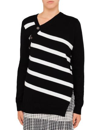 Stripe Asymmetric Knit