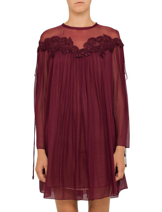 Crushed Georgette Dress With Cherries