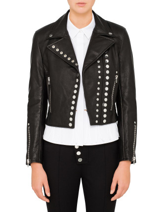 Cropped Sleeve Moto Jacket W/ Double Snap Front