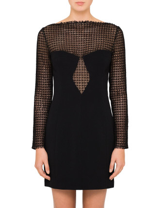 Long Sleeve Sheath Dress With Front Lace Panel