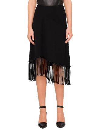 Flared Skirt With Satin Fringe Detail
