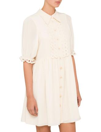 S/S Button Up Crepe De Chine Dress
