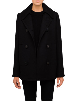 Short Pea Coat With Knit Detail