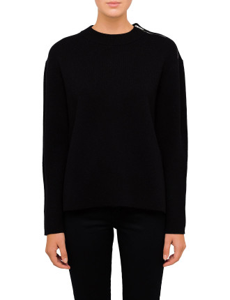 Double Faced Cashmere Knit With Contrast Sleeves