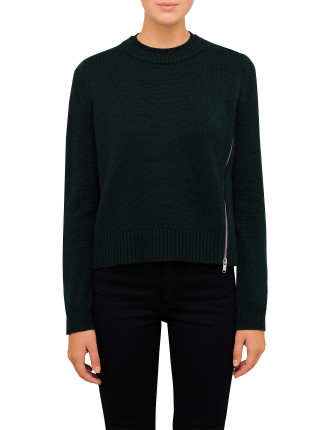Cashmere Knit With Zip Detail On Shoulder