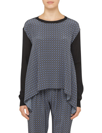 Knit Jumper With Silk Print Front