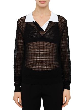 Black Lace Polo Top With White Collar