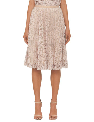 Dusty Pink Pleated Lace Skirt