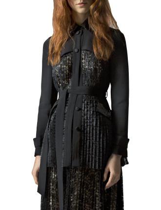 Long Sleeved Black Silk Trenchcoat