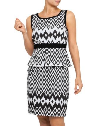 Sleeveless Splice Peplum Dress-Print