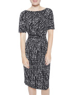 MONOTONE PRINTED JERSEY DRESS $129.00