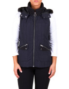 WINTER STRIPES FUR COLLAR PUFFER VEST $159.00