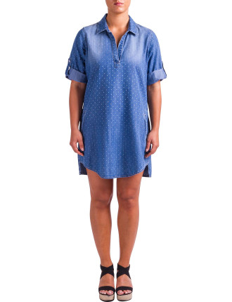 TAB SLEEVE SPOT PRINT TUNIC DRESS