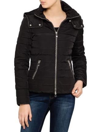 Zip Up Semi Shiny Puffer Jacket