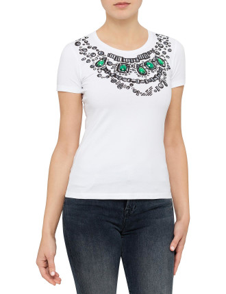 Jewelled Necklace Motif Tee With Stones