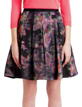 Jadzia Holographic Print Fit & Flare Skirt