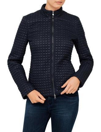 Nylon Top Stitch Padded Semi Shiny Short Jacket