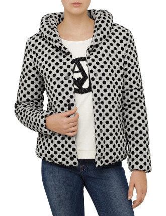 Soft Jersey Short Puffer With All Over Flocked Dot Print
