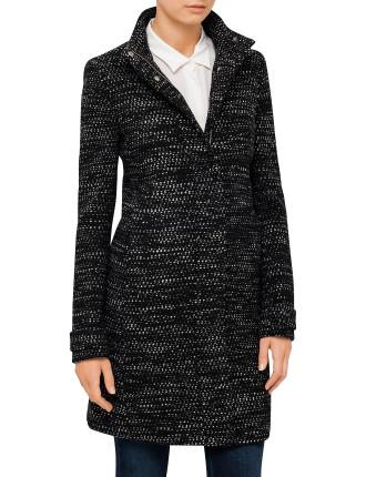 Boucle Wool Blend Long Coat