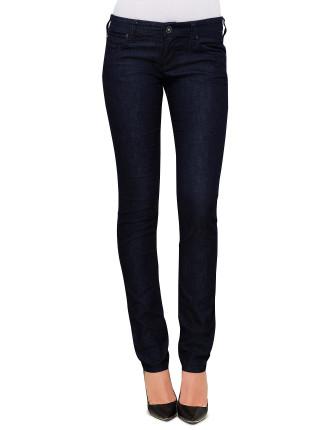 Low Rise Skinny Leg Back Pocket Zip Detail Dark Rinse Denim