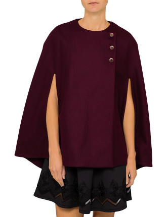 CIEORA BUTTONED WOOL CAPE