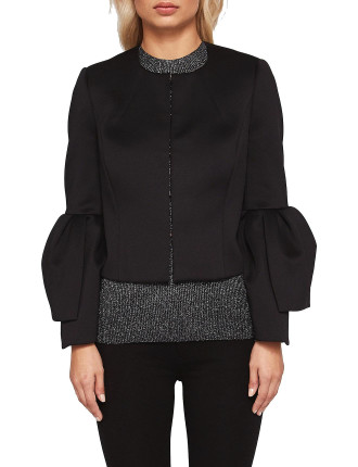 PEPTALE SCULPTURAL CUFF CROPPED JACKET