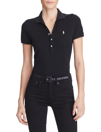 JULIE POLO-SKINNY-SHORT SLEEVE-KNIT-STRETCH MESH