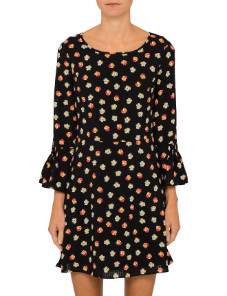 Printed Fluted Dress