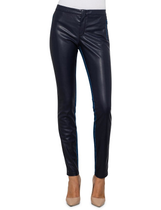Shannina Faux Leather & Denim Patched Trouser