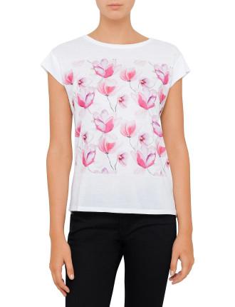 Short Sleeve Pink Flower Print Tee