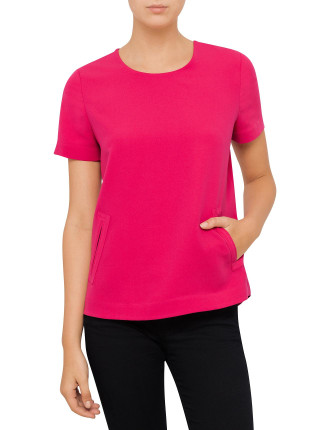 Poly Crepe Short Sleeve Top