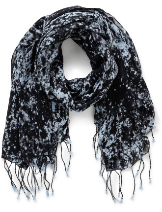 Nescopia Blured Light Print Scarf W/ Tassel