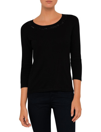 Cotton Knit With Stud Detail On Neck And Zip At Neck