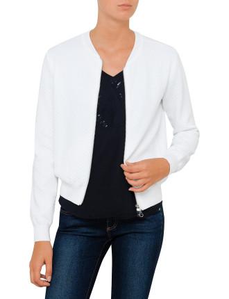 Jacquard 3d Cotton Nylon Bomber Jacket