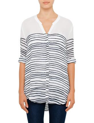 Efelize Ls Silk Blouse W/ Degrade Stripe